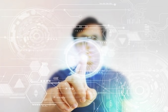 Asian Man Pressing High Tech Virtual Screen
