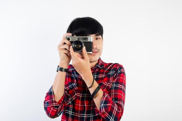 아시아 남자 복용 사진 흰색 절연
