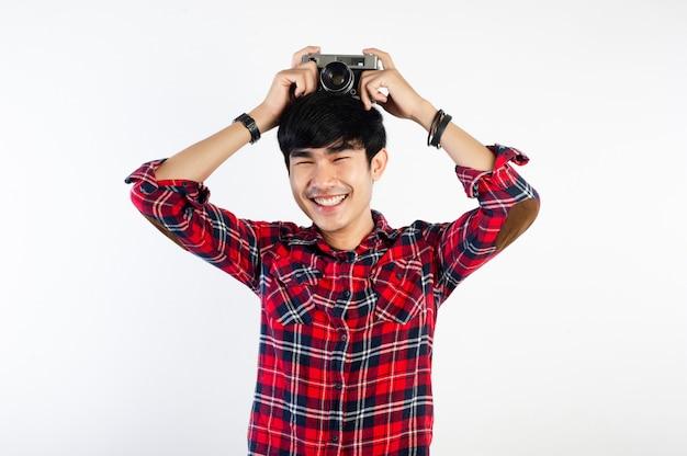 Asian man taking photo isolated on white