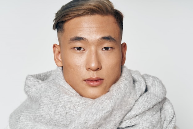 Asian man in warm winter clothes posing