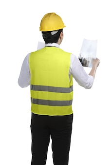 Asian man wear had hat and safety vest looking blueprint