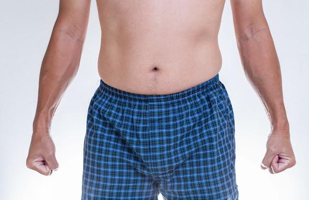 파란색 권투 선수 속옷을 입고 아시아 남자