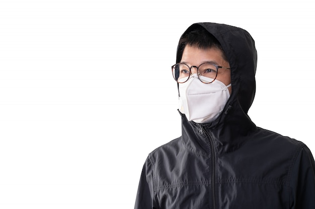 Asian man wearing surgical mask to prevent flu disease corona virus and dust pm 2.5, isolated on white background, clipping path