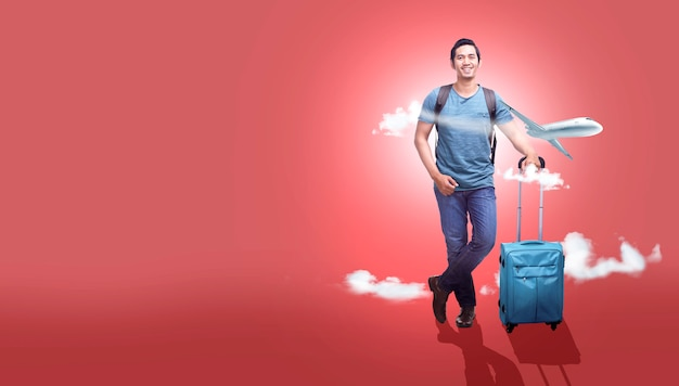 Asian man with suitcase bag and backpack going traveling with airplane background