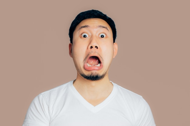 Asian man with surprised and shocked face.