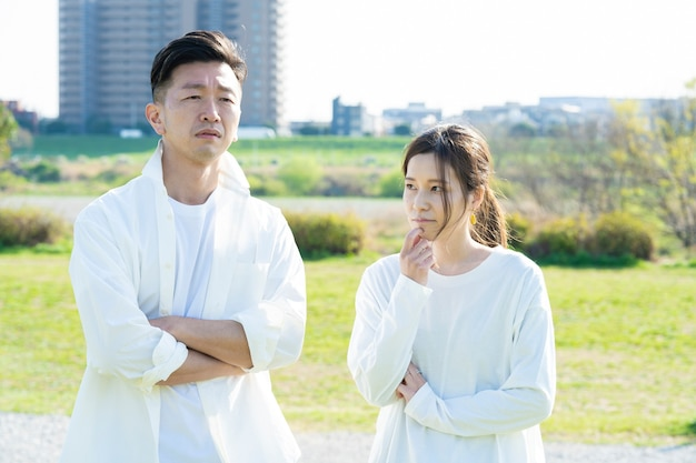 Asian man and woman worried (husband and wife or couples image)