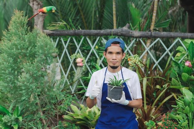 식물 정원 가게에서 일하는 아시아 남자