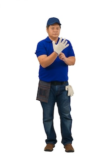 Asian man worker in blue shirt with waist bag for equipment are wearing gloves isolated on white