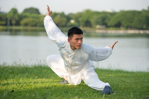 Asian man working out with tai chi in the morning at the park, chinese martial arts, healthy care for life concept.