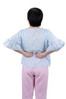白い背景で隔離腰痛に苦しんでいるアジアの中年女性