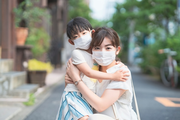 Asian mom and daughter wearing masks