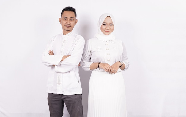 Asian moslem couple wearing moslem clothes