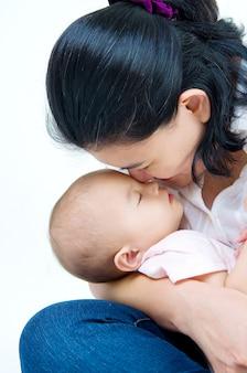 Asian mother breastfeeding her baby girl