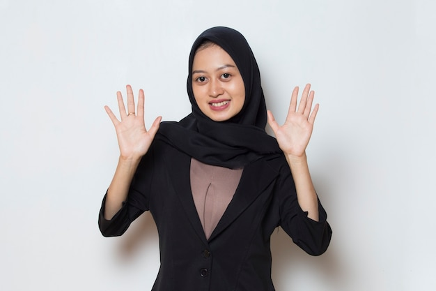 Asian muslim business woman in hijab say hello