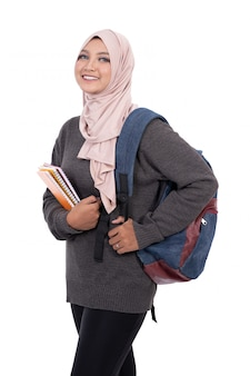 Asian muslim student isolated