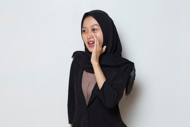 Asian muslim woman wearing hijab announcement