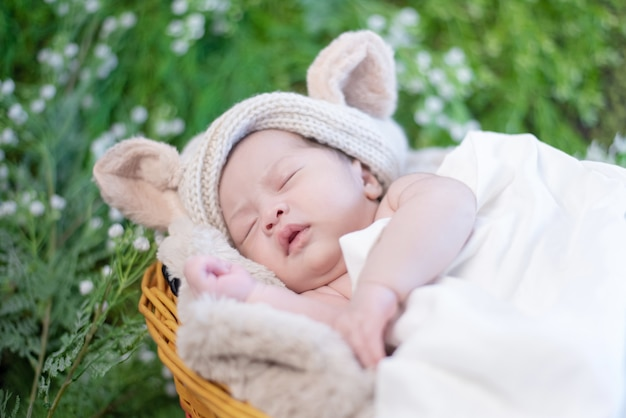 Asian newborn. lovely kid and little child of parent.