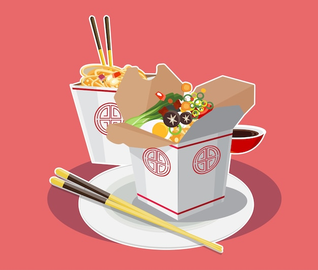 Asian noodles in cardboard boxes and sticks on red background illustration