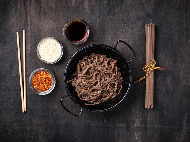 Asian noodles soba with various dressing