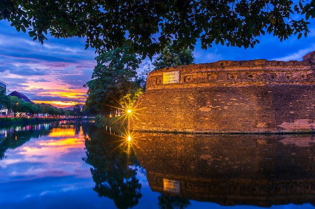Asian old city ancient wall and moat