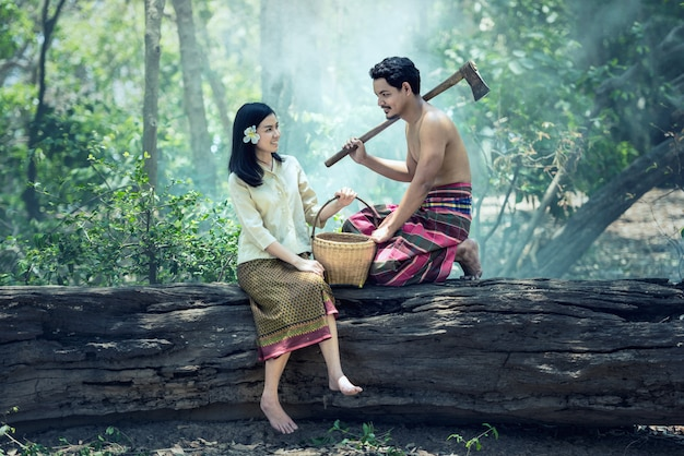 Asian people couple in rural of thailand
