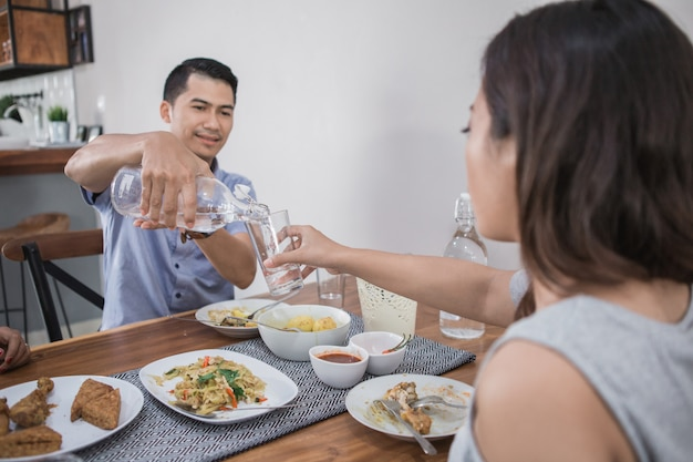 Asian people having lunch
