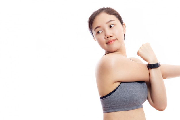 Asian pretty girl do arms stretching close up isolated on white background.