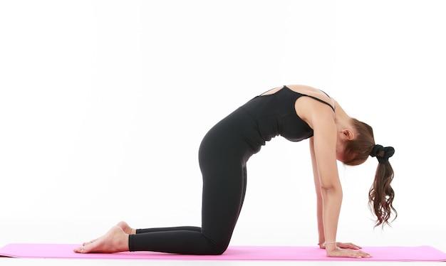 아시아 전문 여성은 요가 프초세와 함께 운동과 스트레칭 몸을 보여주고 보여줍니다.