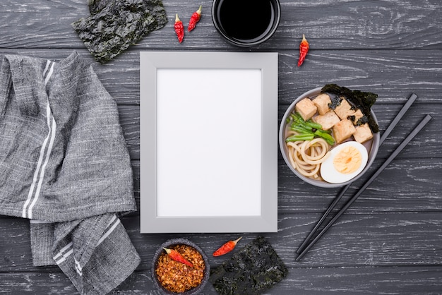 Asian ramen noodle soup and copy space frame