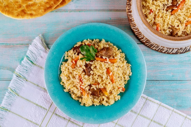Asian rice with vegetable and meat.