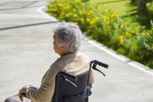 Asian senior or elderly old lady woman patient on wheelchair in the park