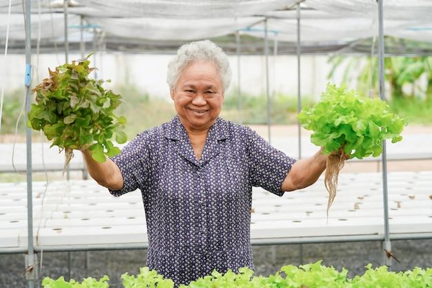 Азиатская старшая леди держит зеленые и красные листья