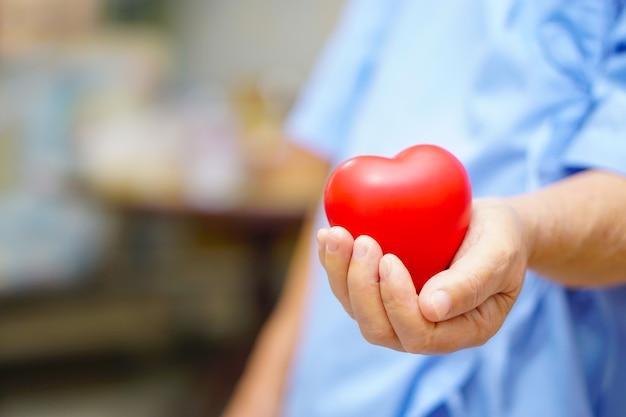アジアの高齢者または高齢者の女性の女性の患者は、彼女の手に赤い心を保持しています。