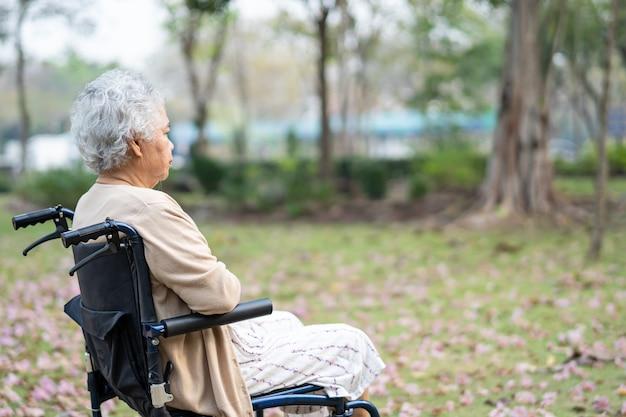 公園で車椅子のアジアの年配の女性患者。