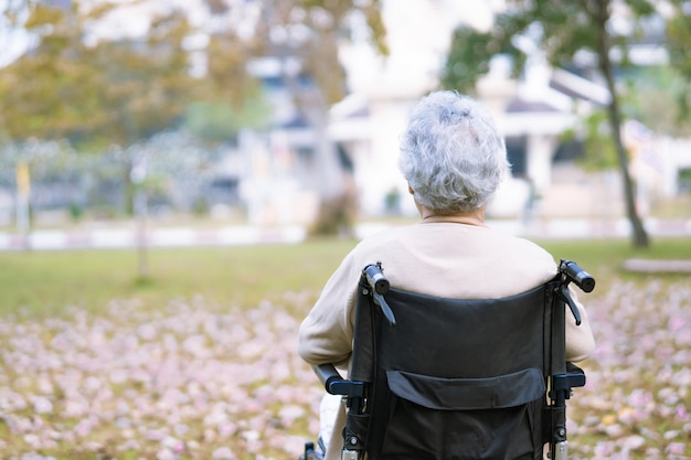 Asian senior woman patient on wheelchair in park.