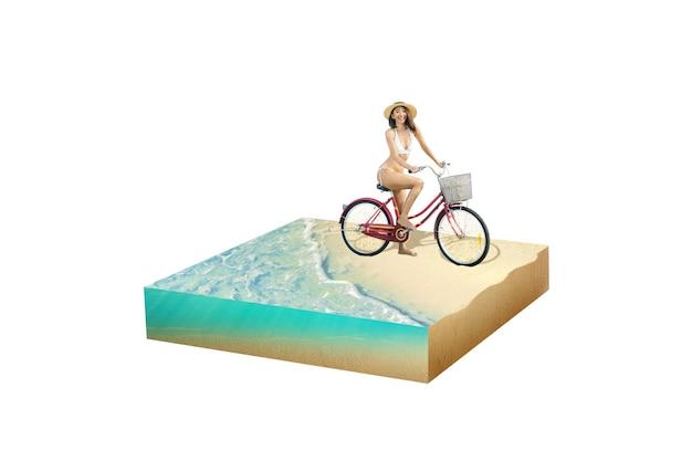 모자와 비키니 물 파도와 모래 해변에서 자전거를 타고 아시아 섹시 한 여자. 환경 개념