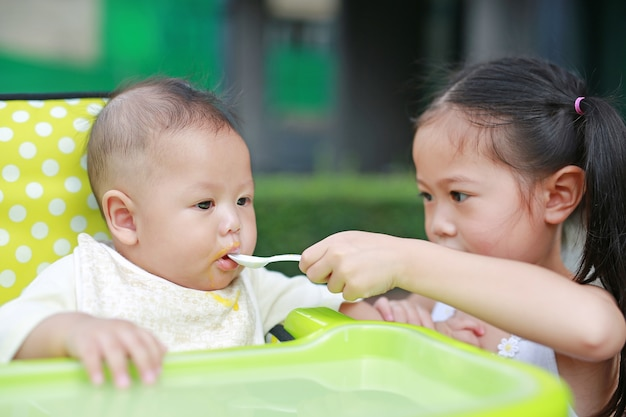 Asian sister feeding food for her little brother with love on the plastic chair