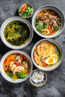 Asian soups, miso, ramen, tom yam, pho bo
