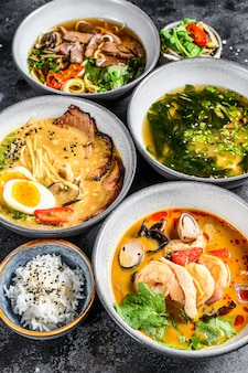 Asian soups, miso, ramen, tom yam, pho bo.