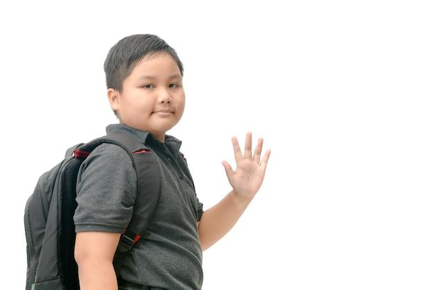 Asian student waving goodbye isolated