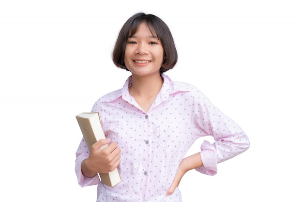 Asian student with a book on white