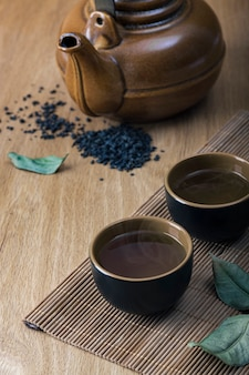 Asian tea set and tea leaves on a wooden table. tea concept.