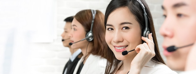 Asian telemarketing customer service agents, call center job concept