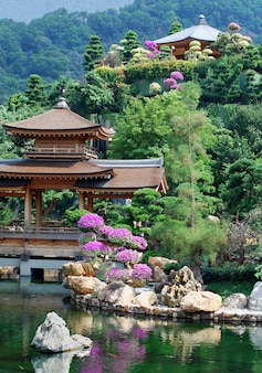 Asian temple and pond