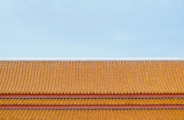 Asian temple roof with sky space