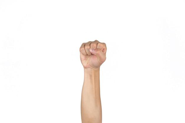 Азиатские тайские мужчины сжимают кулак и поднимают изолированную руку на ясном белом фоне.