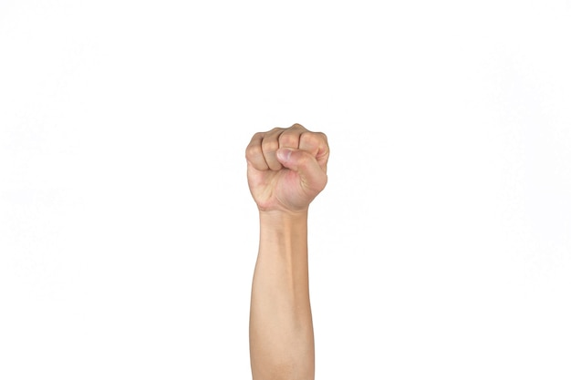 Asian thai males tense fist and rise the isolated hand on the clear white background.