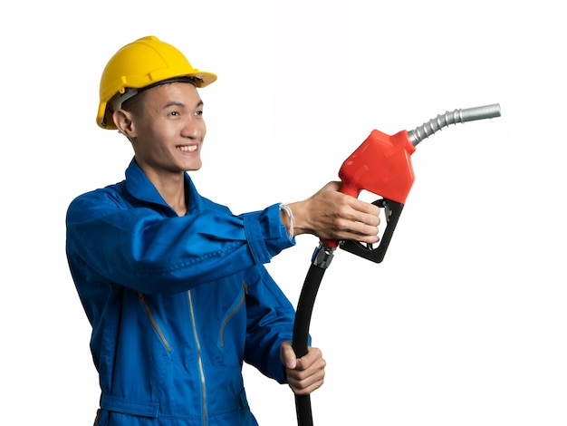 Asian thai person holding fuel oil nozzle for oil system gasohol 91.