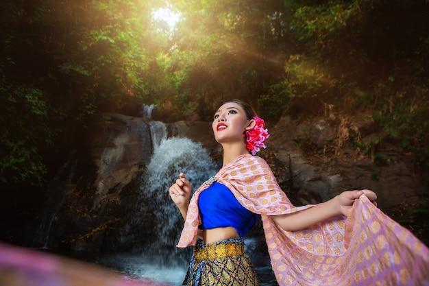Asian thailand girl in beautiful dress.