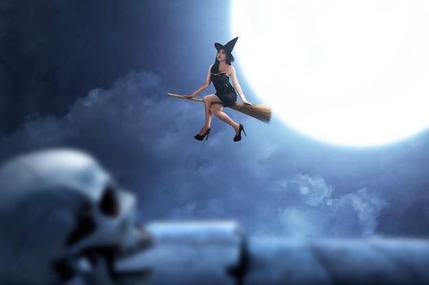 満月の背景を持つ魔法のほうきで飛んで帽子とアジアの魔女の女性